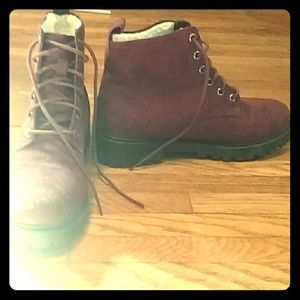 H&M maroon lace up suede boots